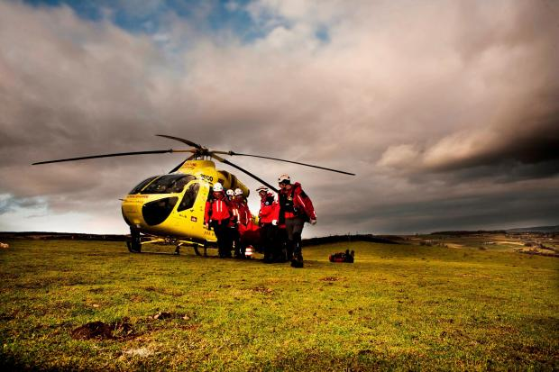 Keighley News: Calder Valley Search and Rescue Team, joined by Yorkshire Air Ambulance, holds its annual core skills training day near Haworth Picture by Hanners of Hanrahan Photography