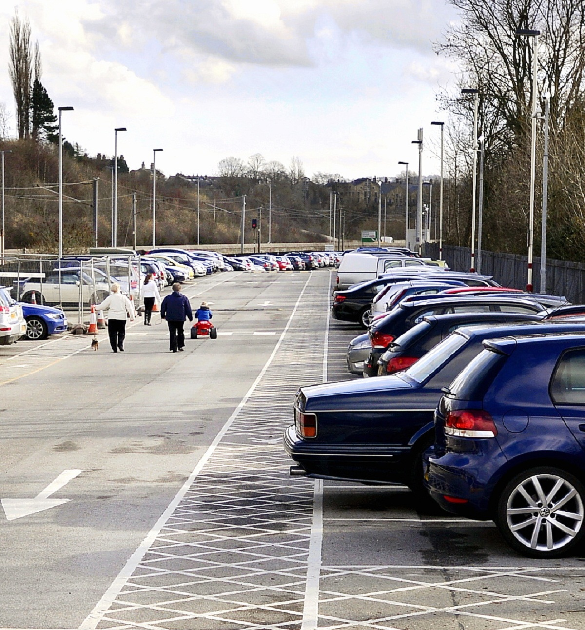 Crossflatts railway station's busy car park