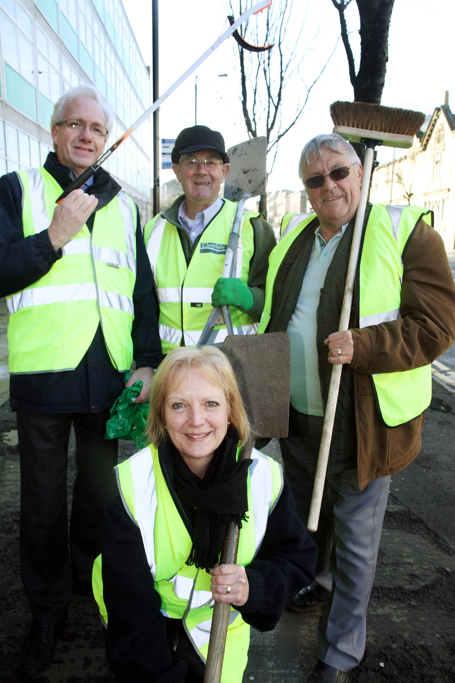 Preparing for the town clean-up are, front, Steph Bottomley, with, from left, Phil Smith, David Petyt and Mike Cunningham