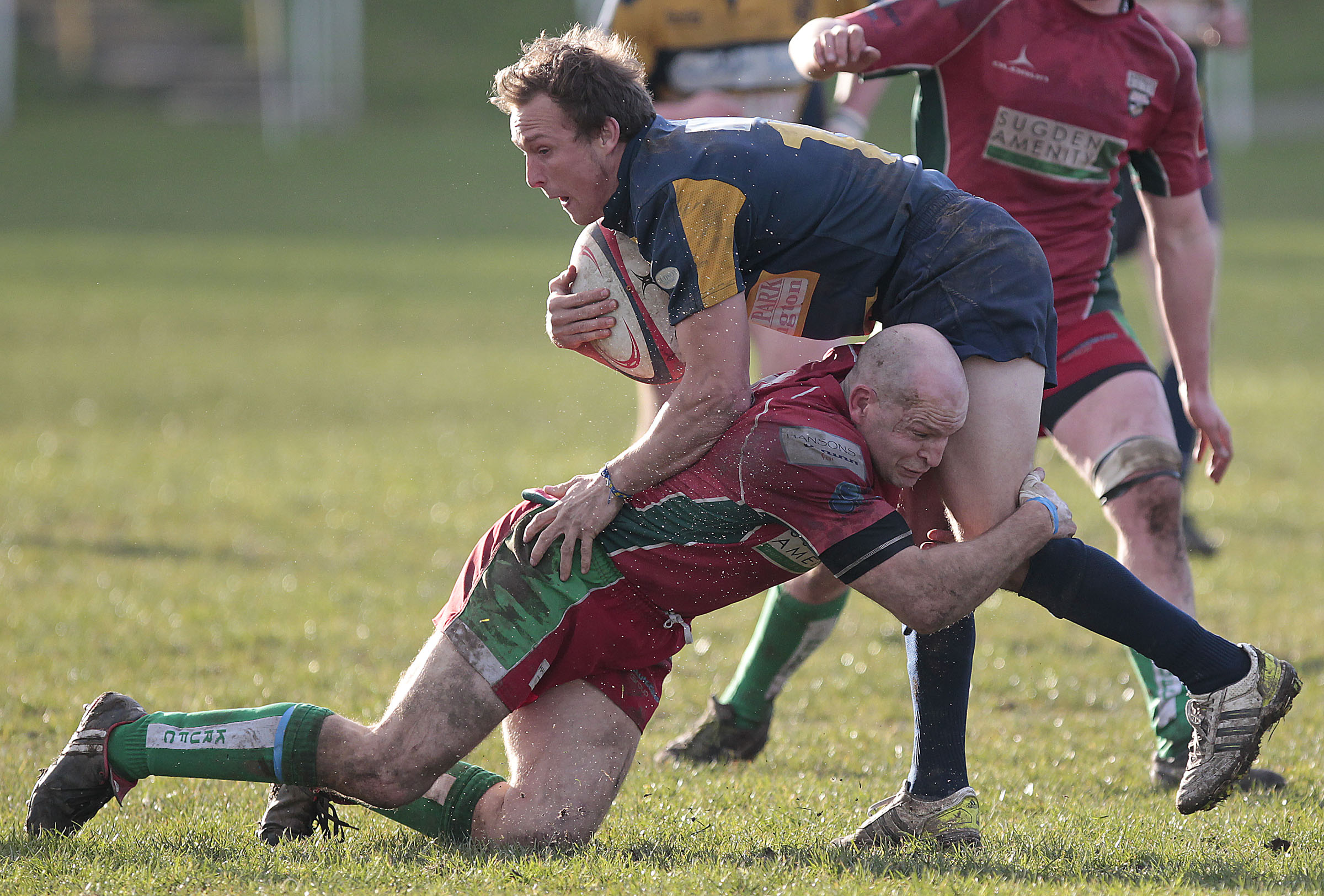 GETTING STUCK IN: Keighley's Dave Pullen makes a tackle against Bridlington. Picture: Charlie Perry