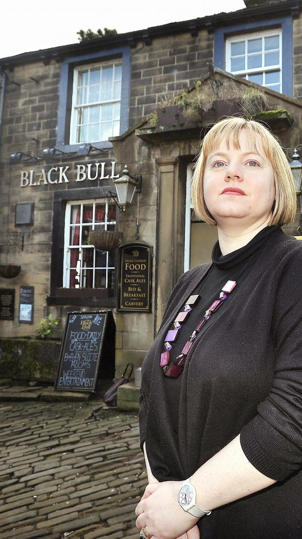 Keighley News: l Councillor Rebecca Poulsen, who is among those anxious to see the Black Bull in Haworth retained as a pub