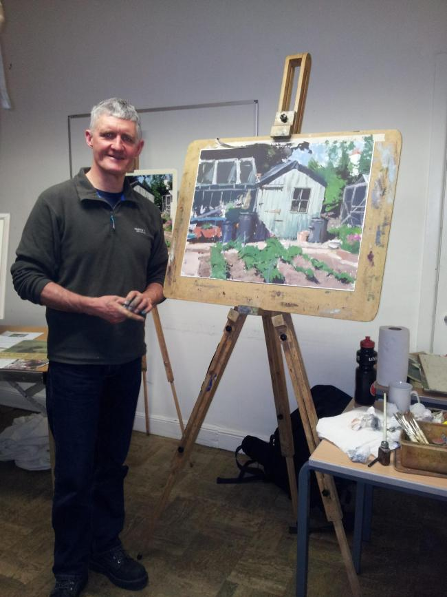 Bruce Mulcahy, who ran a demonstration about gouache painting at Keighley Art Club's latest meeting