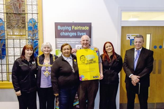 Michelle Grimshaw, from the Co-op in Bingley; Keighley Mayor Councillor Sally Walker; Aimeth Fernandez, Asobanar Banana Growers Co-operative manager, Colombia; Richard Dillon, Co-op Group elected member; Caron Metcalfe, Co-op manager at Bingley, and Steph