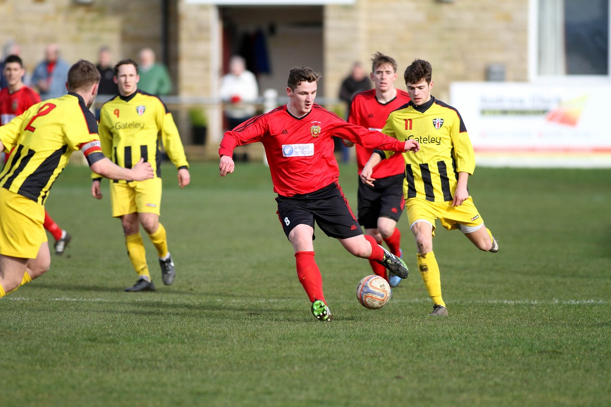 Ben Crabtree carries the ball forward for Silsden in their 0-0 draw against Congleton Town last Saturday