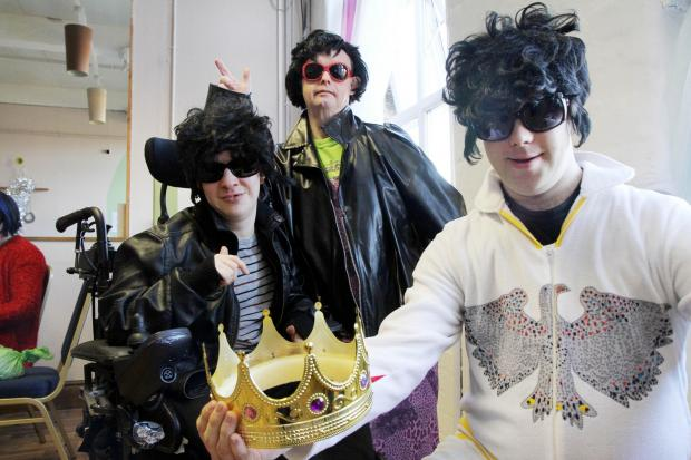 Vying for the King's crown are (from left) Big Soup's Elvis impersonators Matthew Rayner, Simon Gorman and David Parr