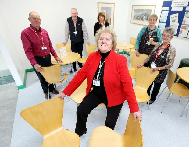 Friends of Airedale chairman Eileen Proud, front, with fellow volunteers David Petyt, John Lofthouse, Sue Rodwell, Sally Walker and Diane Hobson with some of the new furniture they have bought for the hospital