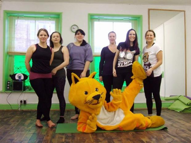 Haworth Cat joins Josie Wybranksa, Eva Byett, Holly Watmuff, Annalea Harrison, Sarah-Jane Fortune and Louise Fyffe for some exercise