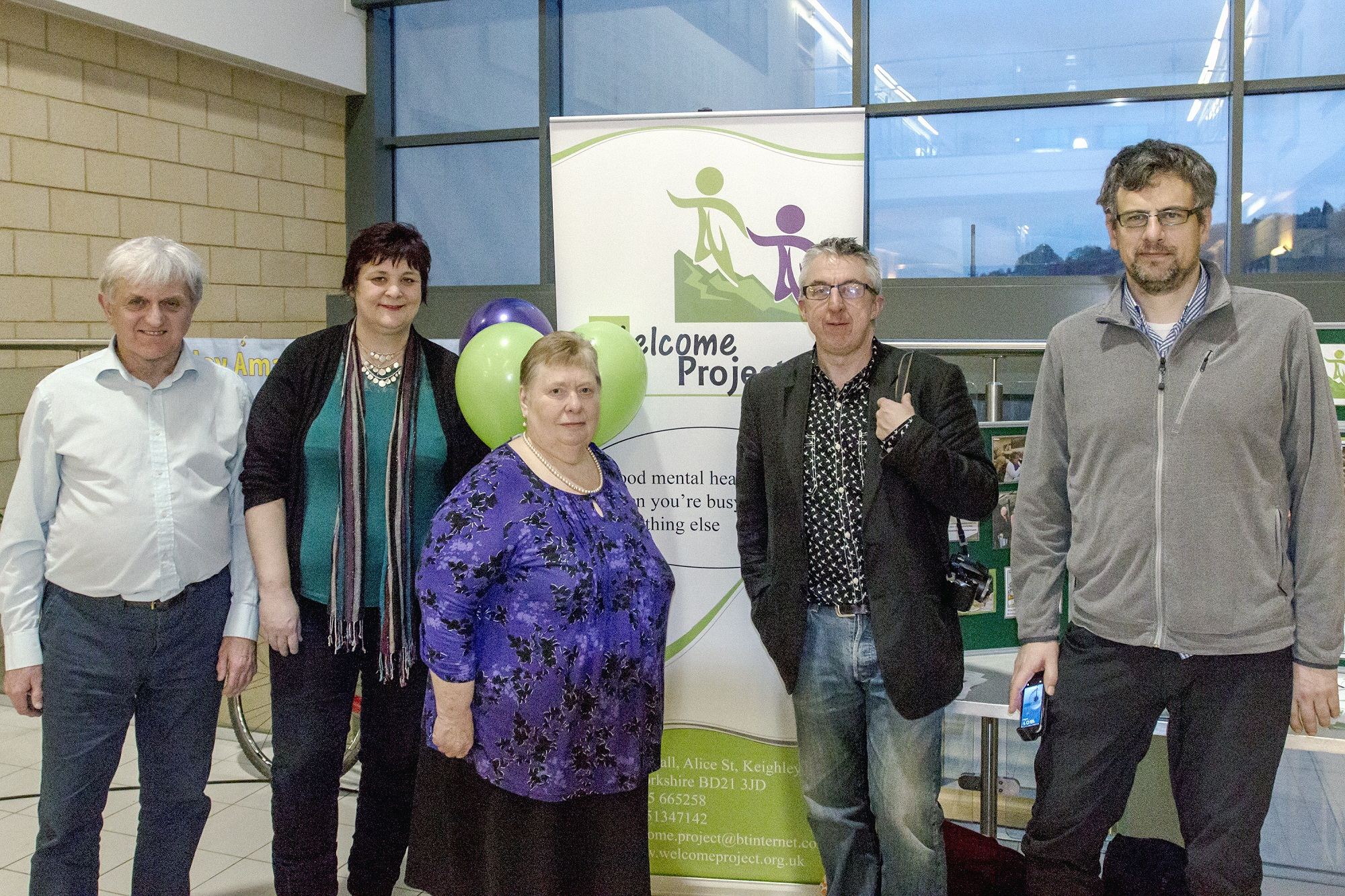 Welcome Project members with representatives of groups that funded the Star Centre event (from left) Geoff Grange, Shona Grange, Joyce Baruch, Andy Sheppard and Mick Charlton
