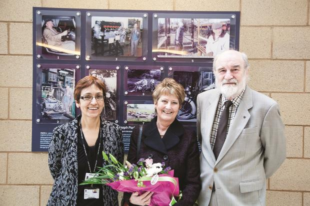 Keighley Campus manager, Debbie Fletcher (left) with Gill and Rick Battarbee at the display in memory of Gill's dad, John Parkes