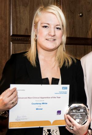 Courtenay White with her Advanced Non-Clinical Apprentice of the Year Award