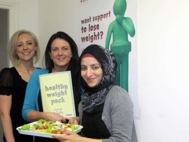 At Keighley Healthy Living are, from the left, food and activity        co-ordinator Sara Bistucz, nutritionist and food activity co-ordinator Kerry Page and student placement Yasmin Kaufer