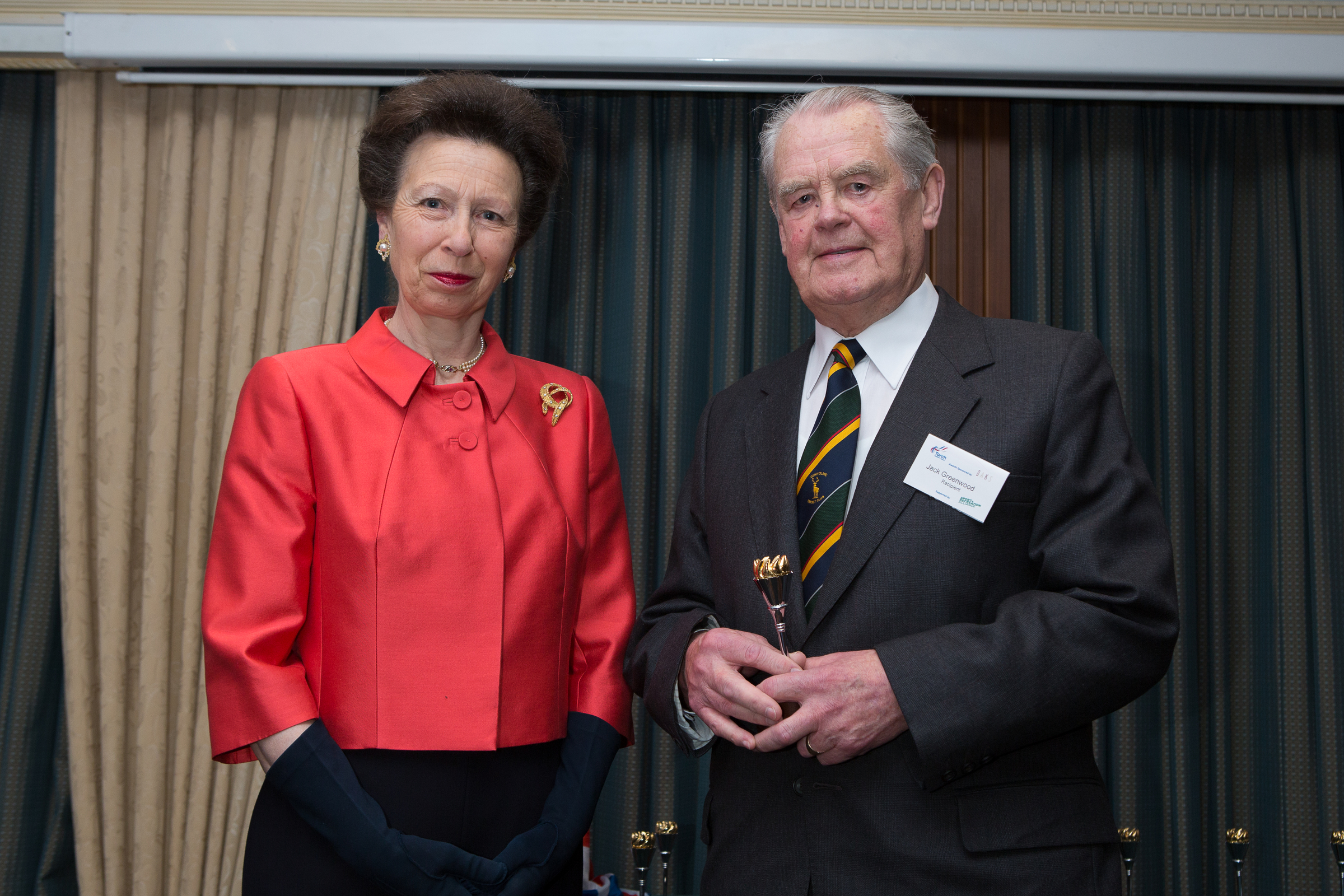 Denholme Cricket Club's Jack Greenwood receives his Torch Trophy Trust award from HRH The Princess Royal