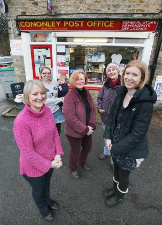 Campaigning to turn the Post Office into a community run facility are, from the left, Marion Wilcock, Vikki Wilcock, Stephanie Wheelhouse, Helen Gibbs and Lois Brown