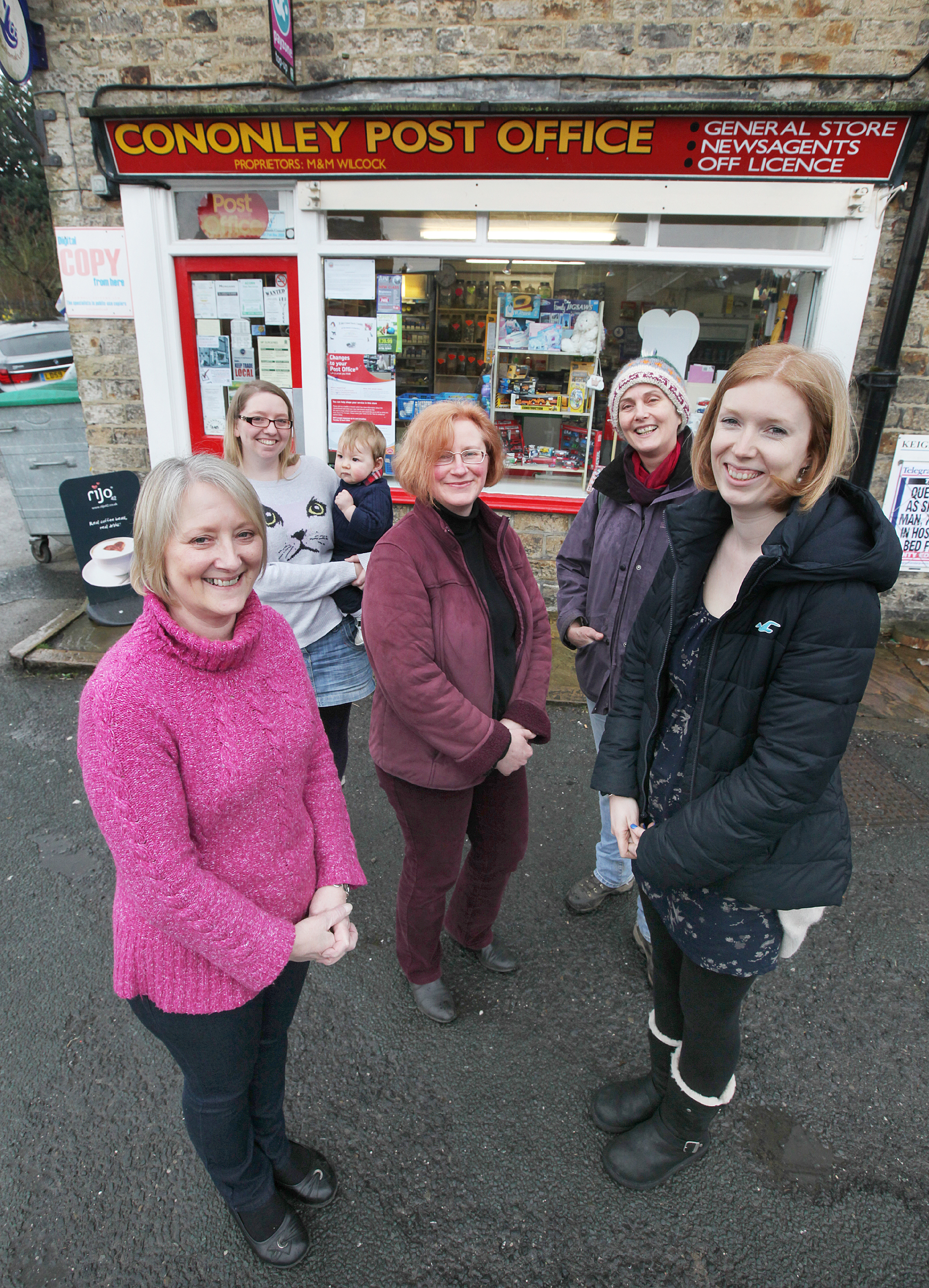 Campaigning to turn the Post Office into a community run facility are, from the left, Marion Wilcock, Vikki Wilcock, Stephanie