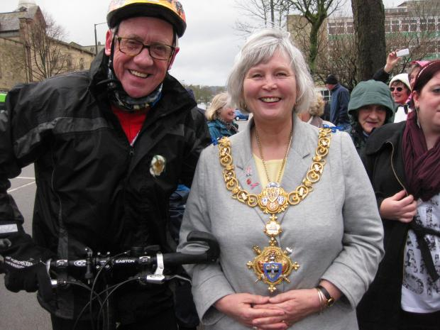 Harry Gration with Town Mayor Sally Walker during the presenter's ride around the district to raise money