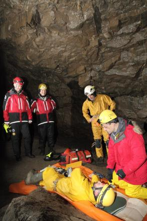 South Craven MP Julian Smith, front right, takes part in a training exercise with the Cave Rescue Organisation at White Scar Cave in the Yorkshire Dales