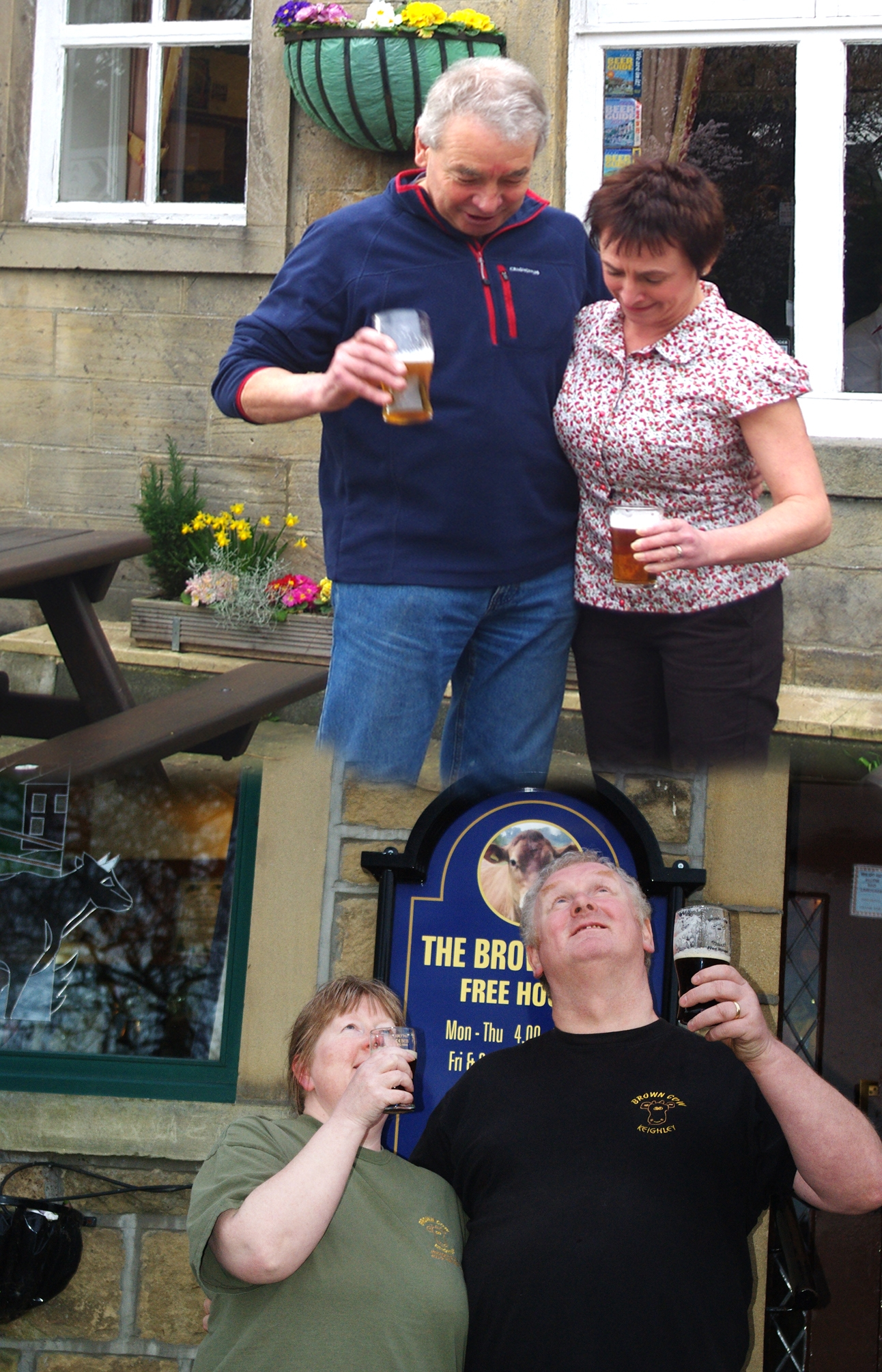 Francis Huggins and Lisa Keeley, top, of the King's Arms, and below, Carole Taylor-Smith and Barry Smith, of the Brown Cow celebrate their joint win in the CAMRA Pub of the Year