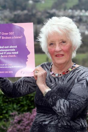 Osteoporosis campaigner Christine Sharp, of Riddlesden, is trying to raise awareness of the issue