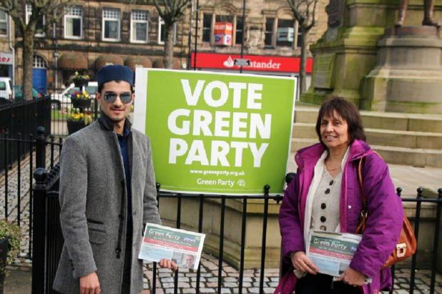 Green Party candidates Rohman Ali and Barbara Archer campaigning in Keighley town centre