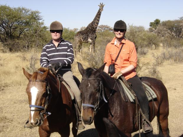 Oakworth couple Jonathan and Emma Sharp enjoy an African safari holiday prize won in a charity raffle