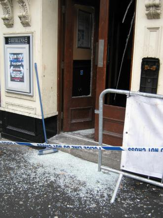 Broken glass outside Last Orders and Berlins, in North Street