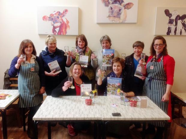 Lisa Preston, far right, and fellow members of Yorkshire Farm Stay toast the success of the charity recipe book they produced