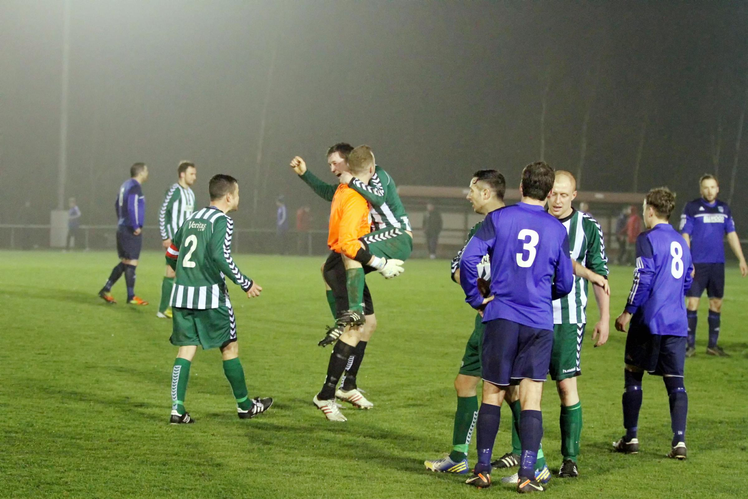 Steeton celebrate reaching the County Cup final after beating Goole 1-0 Picture: Simon Pickles