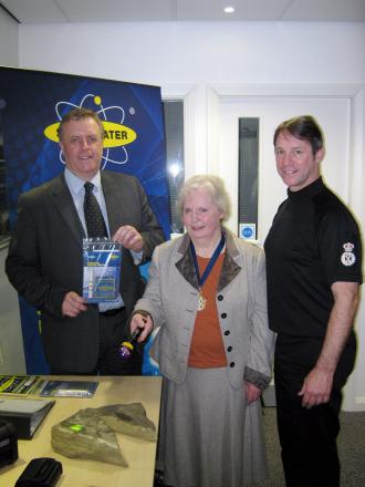 Mark Burns-Williamson, Councillor Judith Brooksbank and Mark Gilmore help demonstrate the effectiveness of the Smartwater system