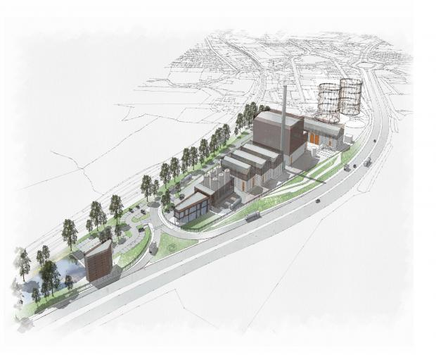 A computer image of how the energy plant will look when it is built next to the Aire Valley trunk road at Marley