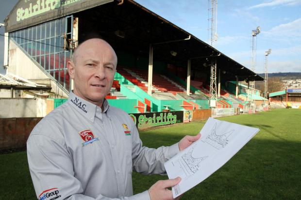 Keighley Cougars chairman, Gary Fawcett, with plans – also shown below – for the £5 million stadium redevelopment