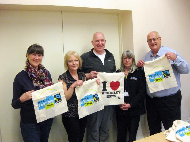 Fairtrade Keighley steering group members, from left, Chris Goddard, Steph Bottomley, Richard Dillon, Diane Ramsden and Steve Seymour, promoting the movement