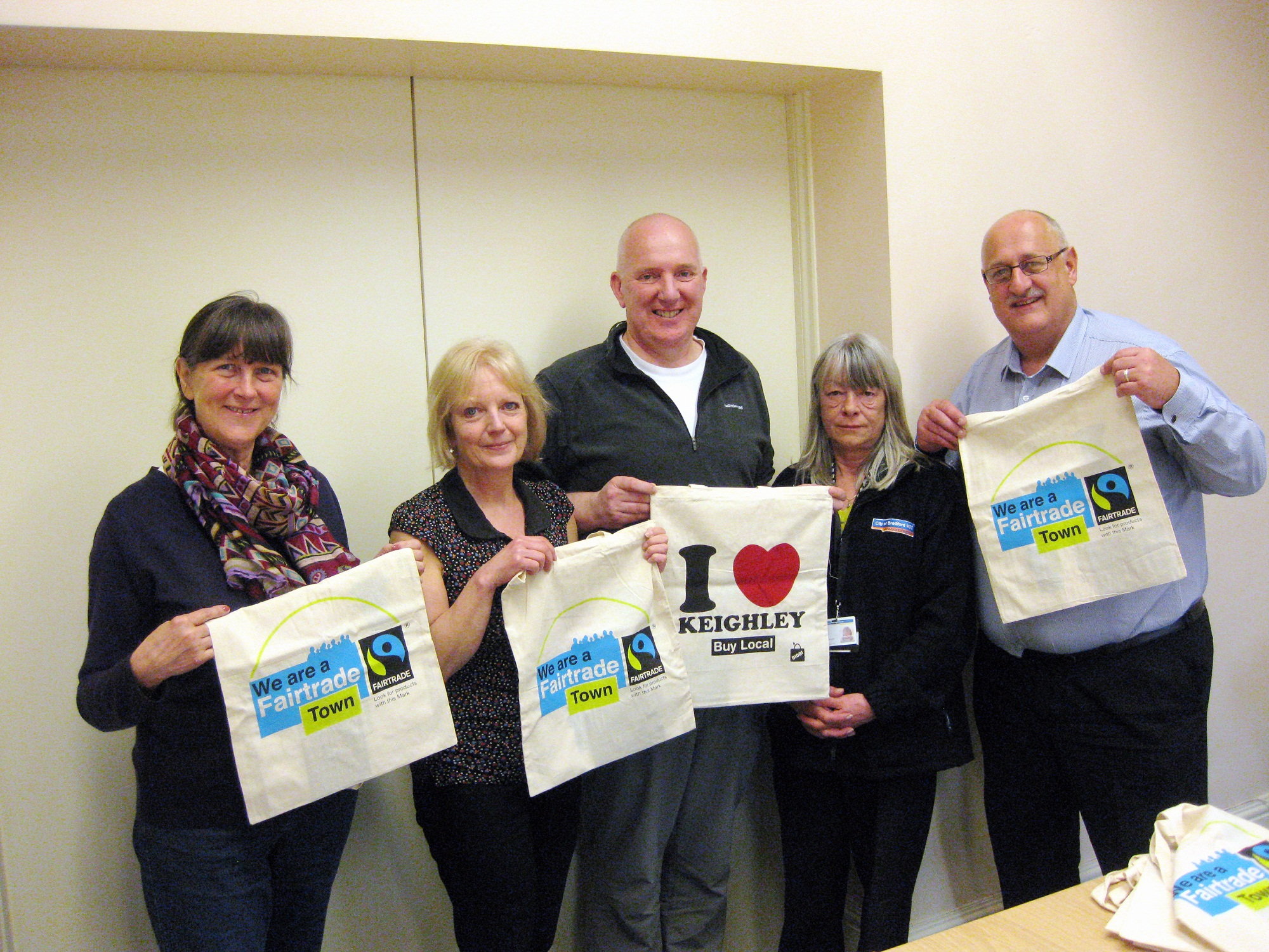 Fairtrade Keighley steering group members, from left, Chris Goddard, Steph Bottomley, Richard Dillon, Diane Ramsden and Steve Seymour, promoti