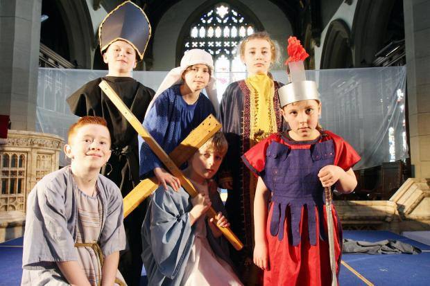 Taking part in Haworth Primary School's Easter production are (back row, from left) Toby Furness, Maisie Otterburn a