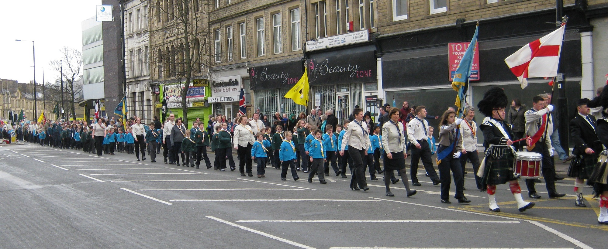 The St George's Day Scout parade makes its way along North Street in Keighley ahead of the service held at St Anne's Church