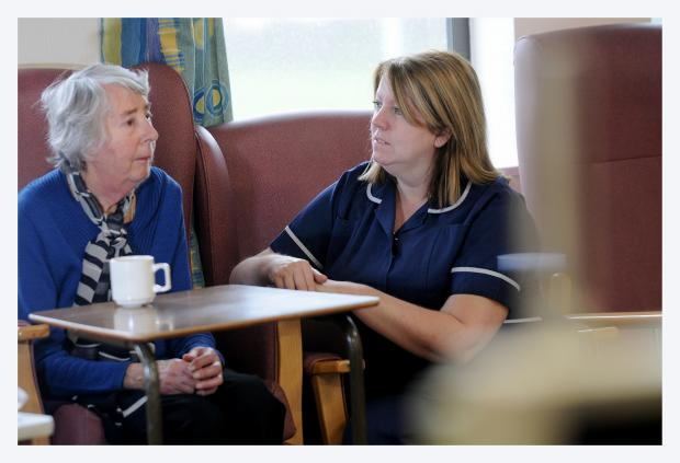 Parkinson's nurse specialist Margaret Ormerod, with Greta Oxley, 83, who suffers from the disease