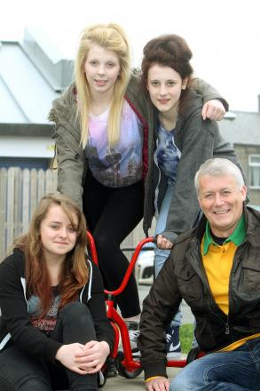 Councillor Andrew Mallinson is joined at Silsden Youth Centre by, from left, Jess Sanchez, Naomi Smith and Niamh Fearnley for the Tour de France project