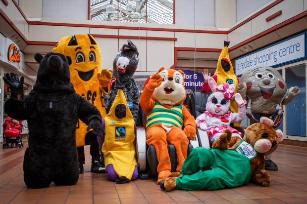 Some of the mascots, pictured in the Airedale Shopping Centre, which will be taking part in the race at Wetherby on April 13
