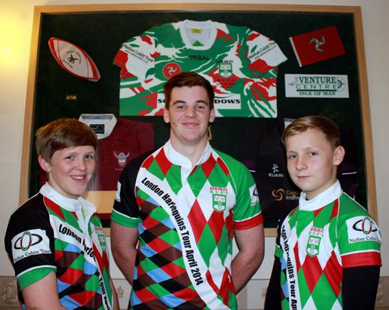Keighley News: Keighley junior captains, from left, Ethan Lawrie (u-13), Elliott Barker (u-17) and Tom Willson (u14) get ready for their tour