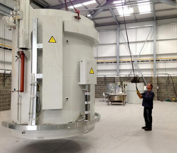 The new furnace is installed at Keighley Laboratories