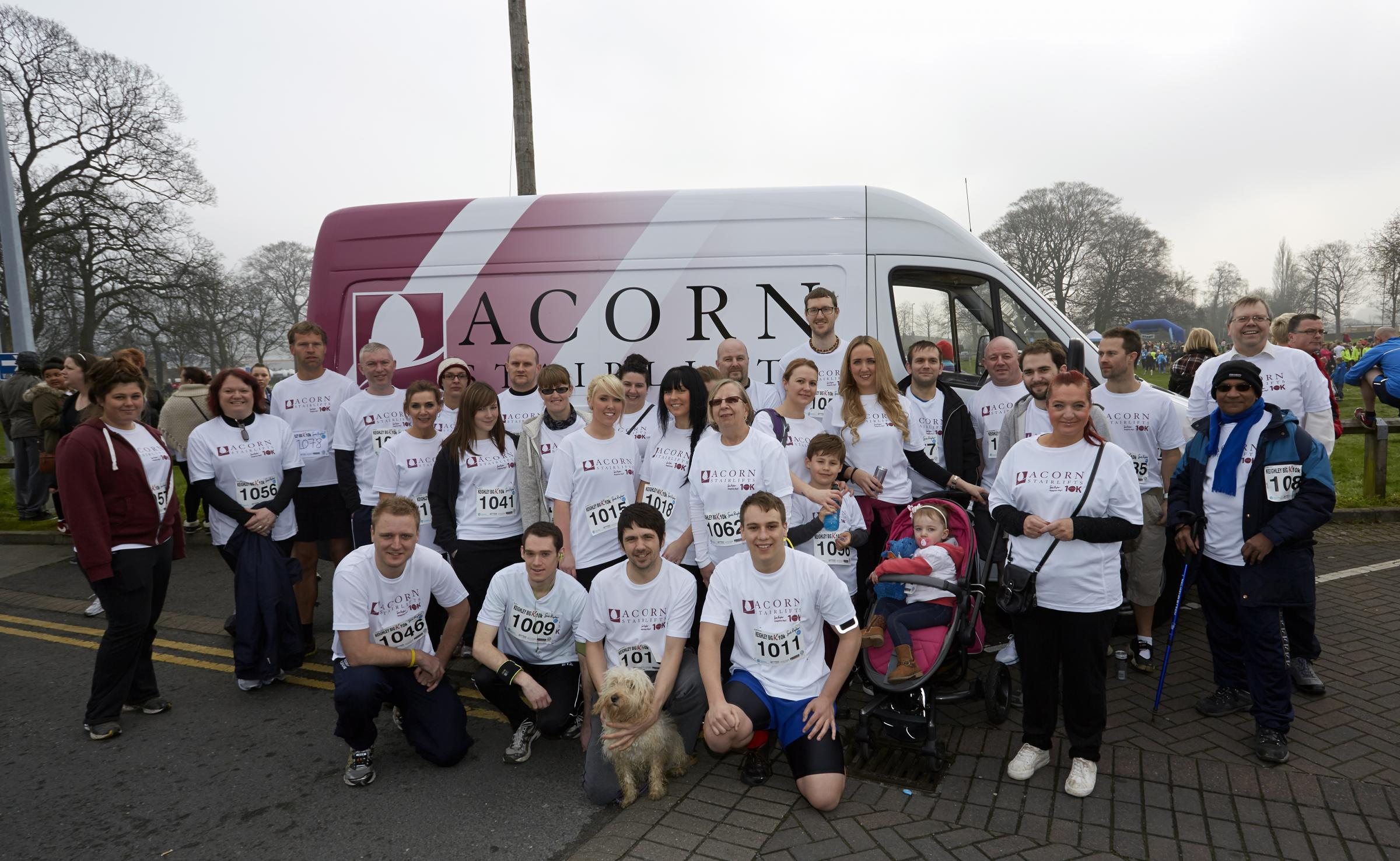 Some of the 100 staff of Acorn Stairlifts who took part in the Keighley BigK 10k run