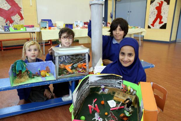 Showing off their competition entries are, from the left, Izzy Green, Katie Fannon, Louis Smith and Madeehah Hussain