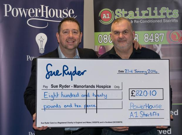 Kevin McGrann, left, of Powerhouse Media, and Simon Harrison, of A1 Stairlifts, with the cheque for Manorlands