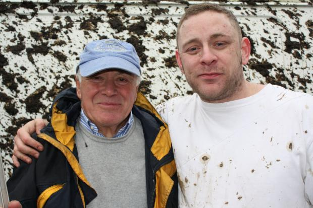Thomas Black with Gareth Finister, who starred alongside the  businessman in his litter campaign video