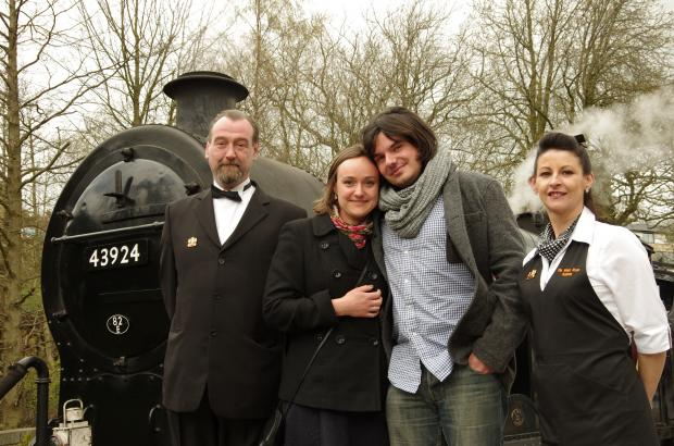 Chris Wilson and fiancée Ola Kowalczyk with Keighley & Worth Valley Railway workers Jez Middleton and Christine Laycock