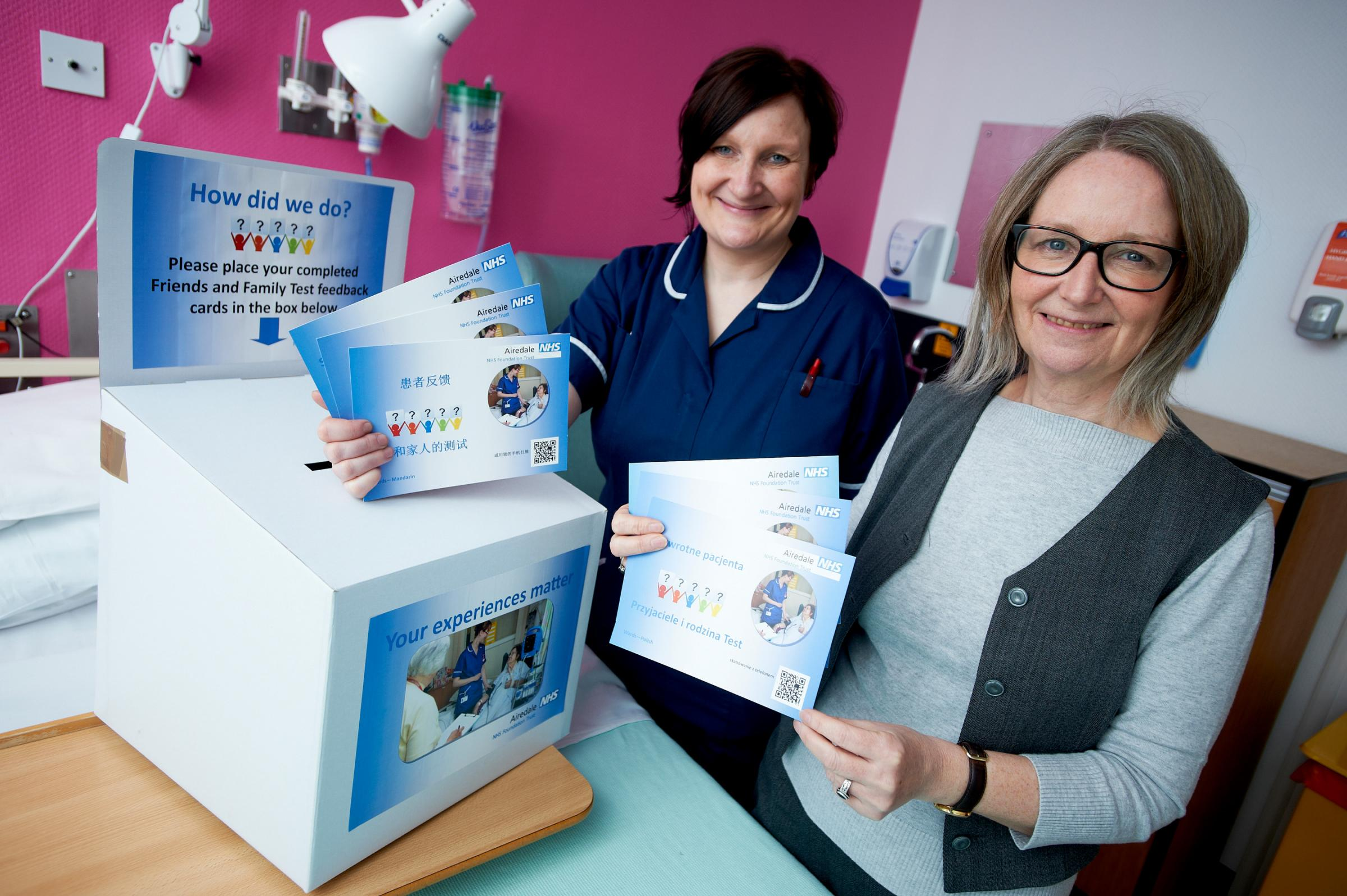 Airedale Hospital senior sister, Angela McGarry, left, and Karen Dunwoodie, patient experience lead, with the new postcards