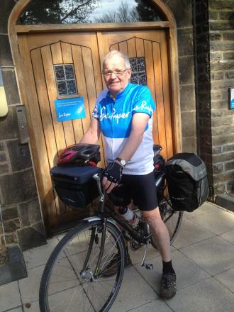 Barry Hopkinson, who is cycling to Rome to support Manorlands