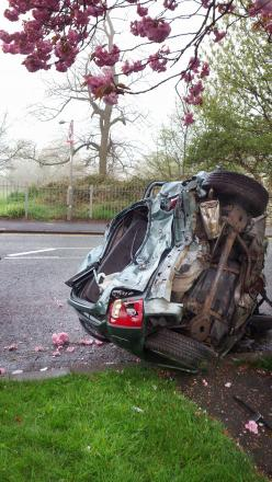 The mangled wreckage of a Nissan Micra