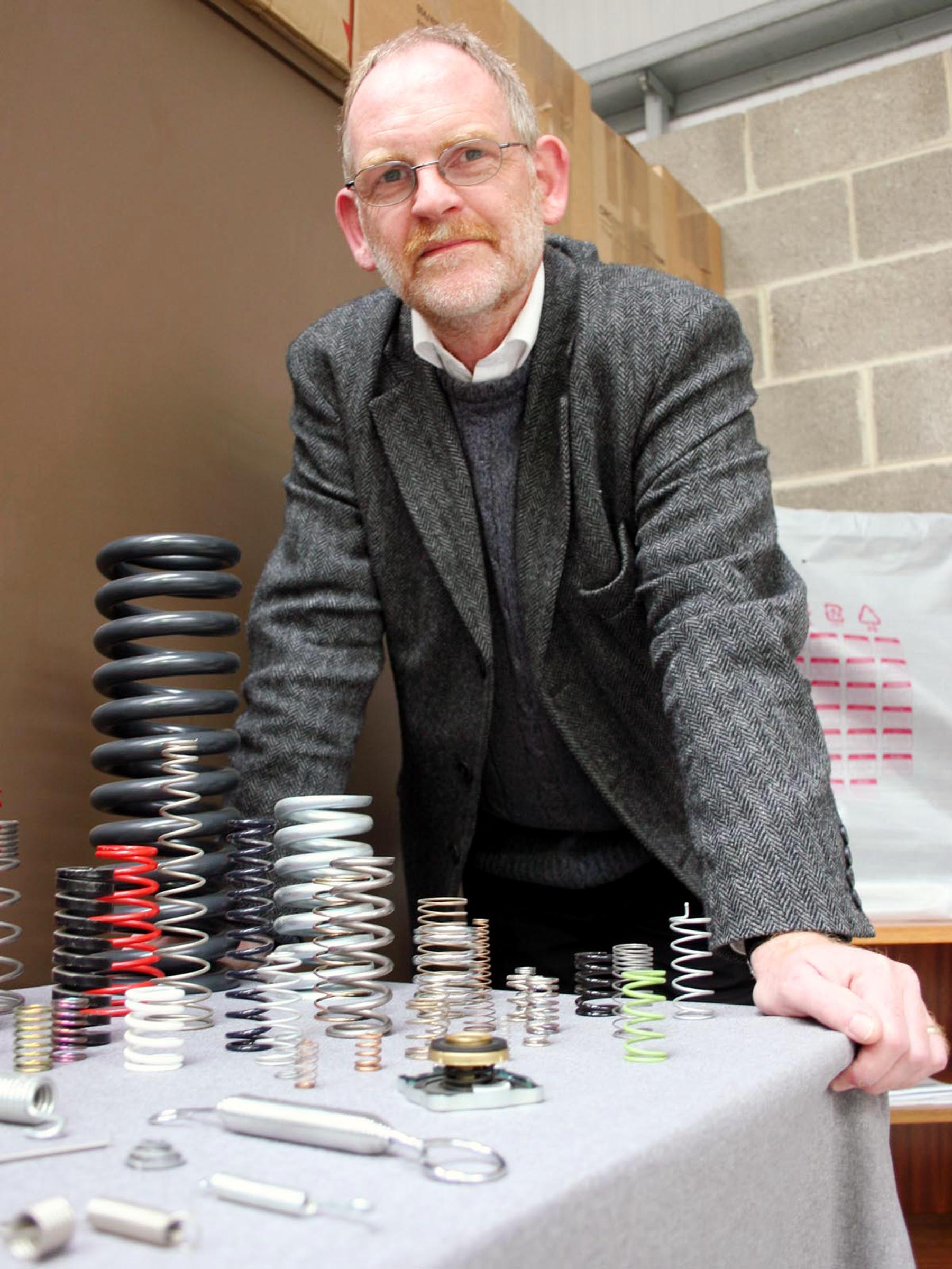 Airedale Springs chairman Tim Parkinson with some of the items made by the Haworth factory