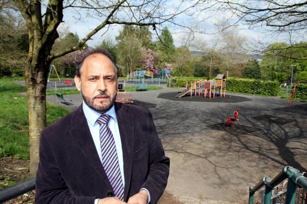 Councillor Abid Hussain at the children's play area in Devonshire Park where a nine-year-old girl 'stabbed' herself on a heroin addict's syringe