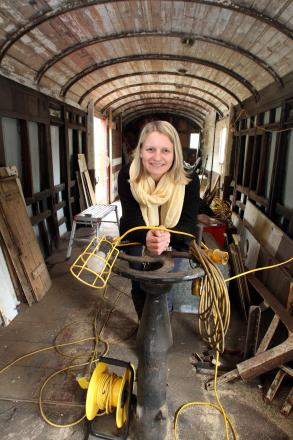 Debbie Cross in the 1926 railway carriage, which will be used for education sessions at Ingrow Station